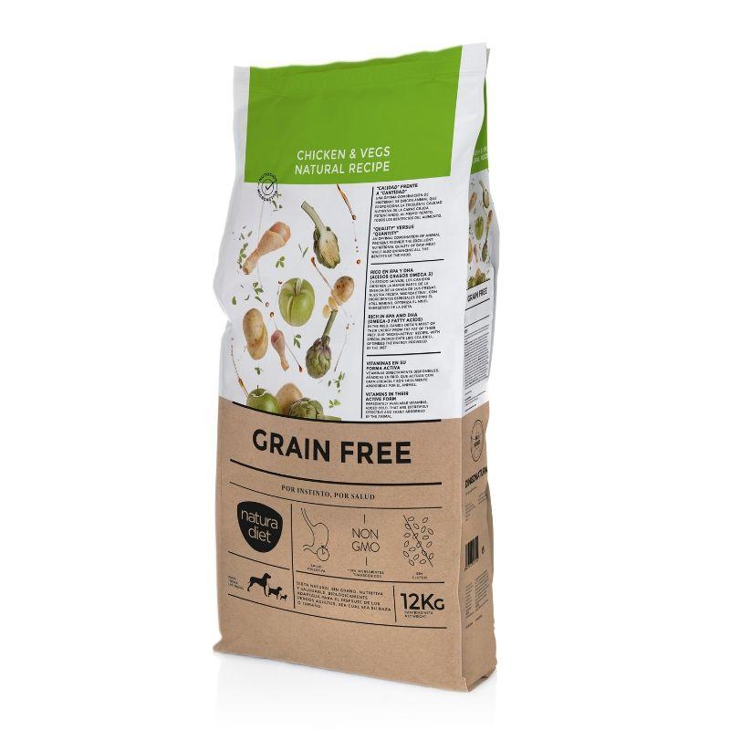 natura diet grain free chicken & vegs comida natural perros sin cereales pollo